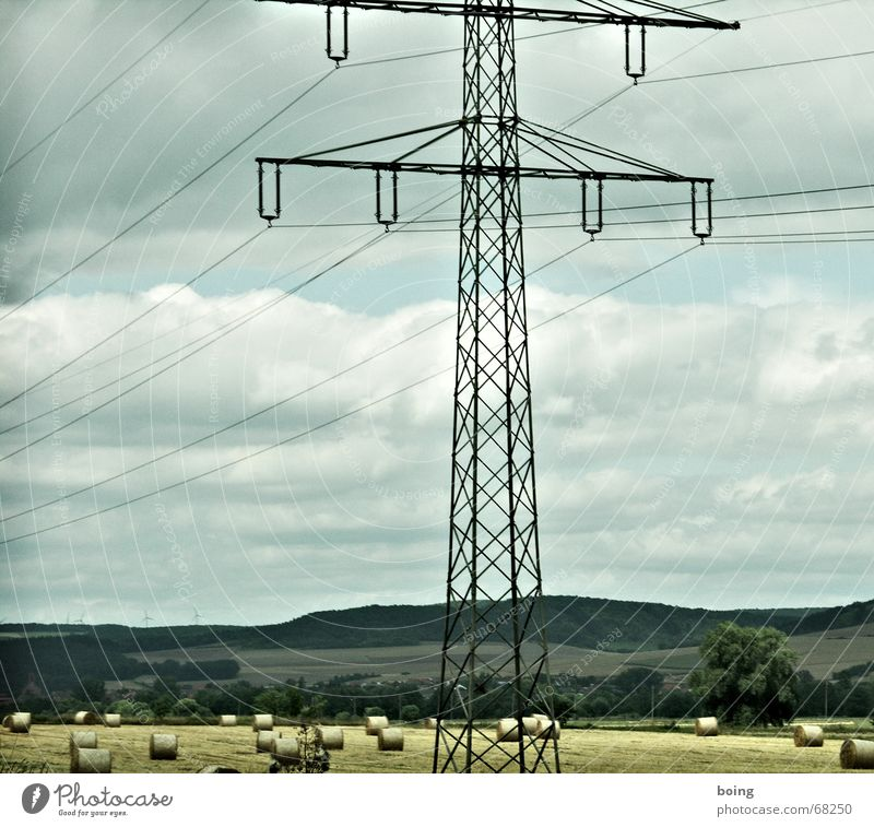 Tree Landscape Autumn Field Large Electricity Cable Industry Village Wind energy plant Electricity pylon Ecological High voltage power line Settlement