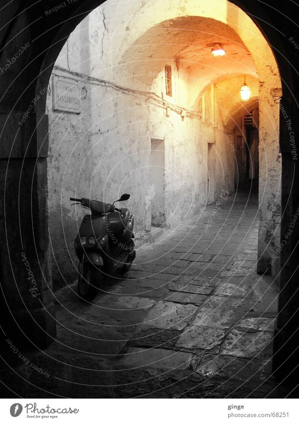 Lights Tunnel Alley Small Romance Black Physics Summer Yellow Cobblestones Lamp Italy Exterior shot Arch side street Bright Scooter Warmth Orange VIA