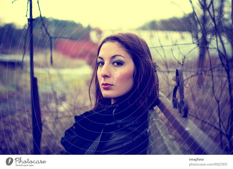 Human being Woman Youth (Young adults) Tree Loneliness Young woman 18 - 30 years Cold Yellow Adults Meadow Feminine Style Head Moody Sit