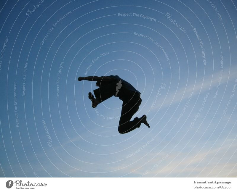 jump Jump Black Barefoot Fist Speed Attack Tall Sky Fight Aviation Silhouette Blue Movement Human being Flying Fate Far-off places flight motion high Beginning