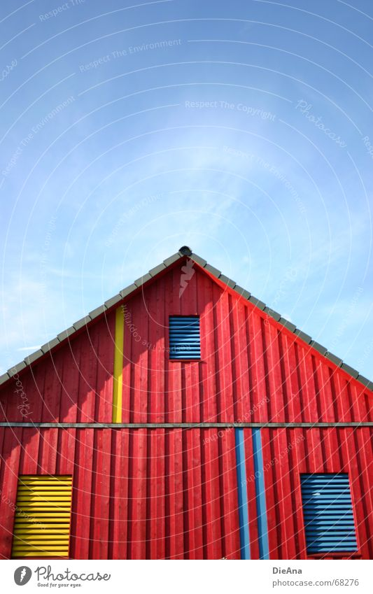 2:1 for the blue ones Summer House (Residential Structure) Sky Beautiful weather Building Window Roof Wood Point Blue Yellow Red Wood flour Top August no clouds