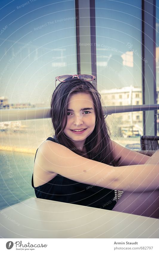 Happy travel portrait Lifestyle Vacation & Travel Tourism Feminine Youth (Young adults) 1 Human being 13 - 18 years Child Athens Passenger ship Harbour Ferry