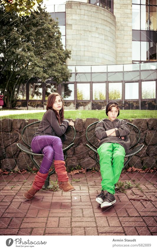 Portrait of two siblings Lifestyle Human being Masculine Feminine Youth (Young adults) 2 8 - 13 years Child Infancy 13 - 18 years Environment Summer Dusseldorf