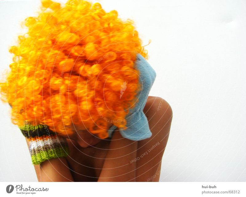 Go away- clown three. Wig Gloves Shoulder Humble Antagonism Fear Knitted Duck down hair Hair and hairstyles glove Nose bent creep away miniaturize frightened