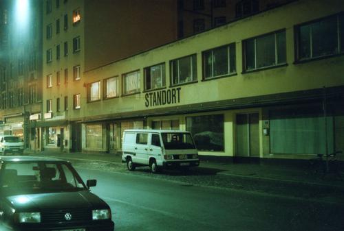 Location Frankfurt Main Night Town Dark Building Site Lantern Factory hall konstablerwache Street Car