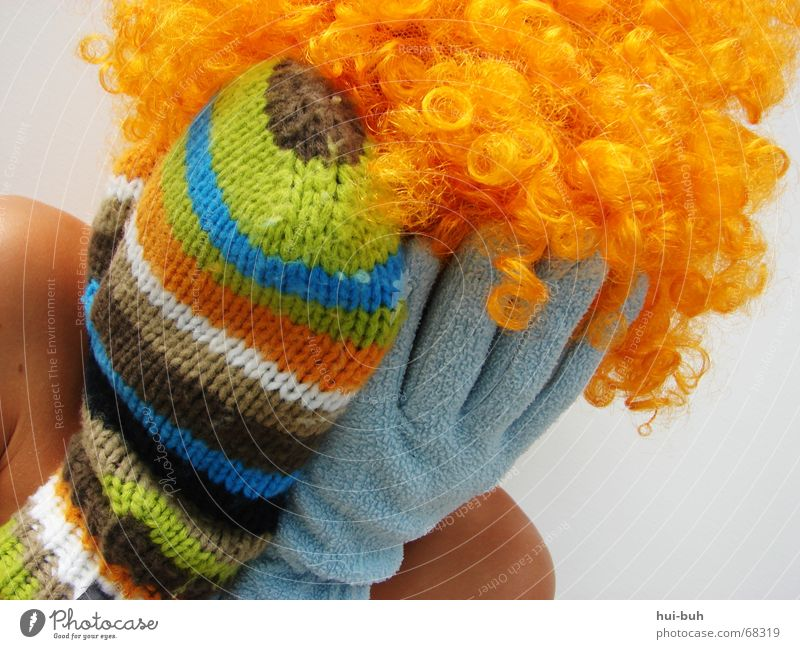 buh- the clown four Wig Gloves 2 Knit Multicoloured Striped Shoulder Closed Good day! 5 Fingers White hair Hair and hairstyles glove embroidered chop beat Side