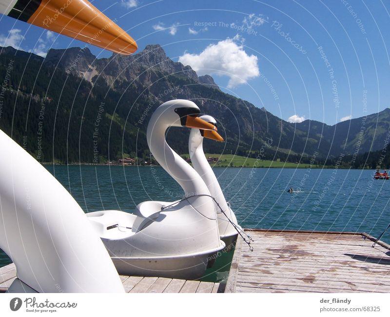 swan lake Swan Lake Austria Sun Pedalo Footbridge Summer Mountain