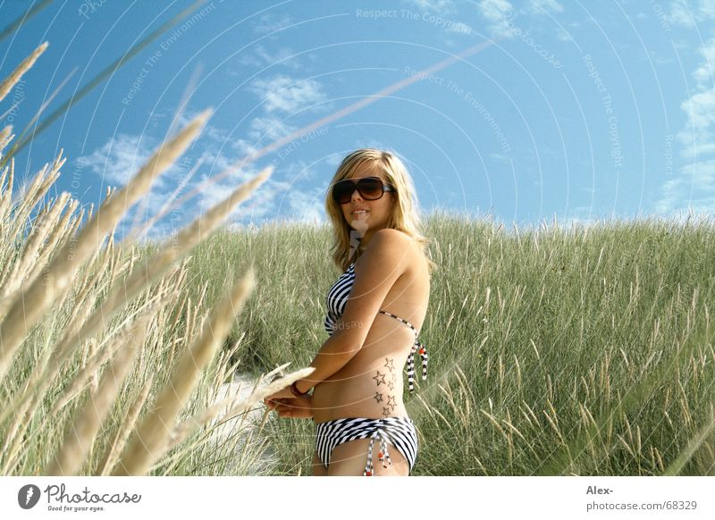 Woman Sky Nature Blue Beautiful Vacation & Travel Summer Beach Sand Warmth Blonde Field Star (Symbol) Growth Stand Sweet