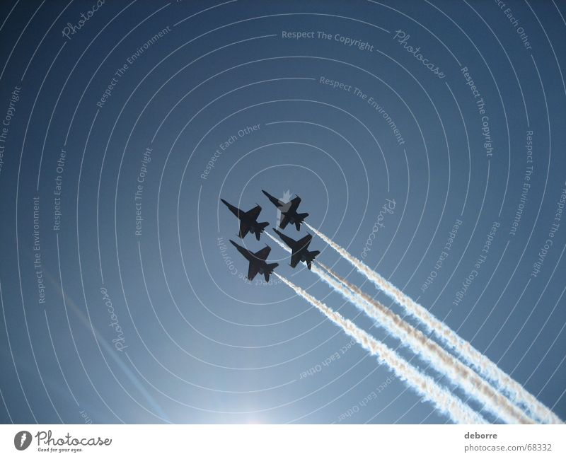 Sky Sun Blue Air Airplane Aviation USA Americas War Jet Aerobatics