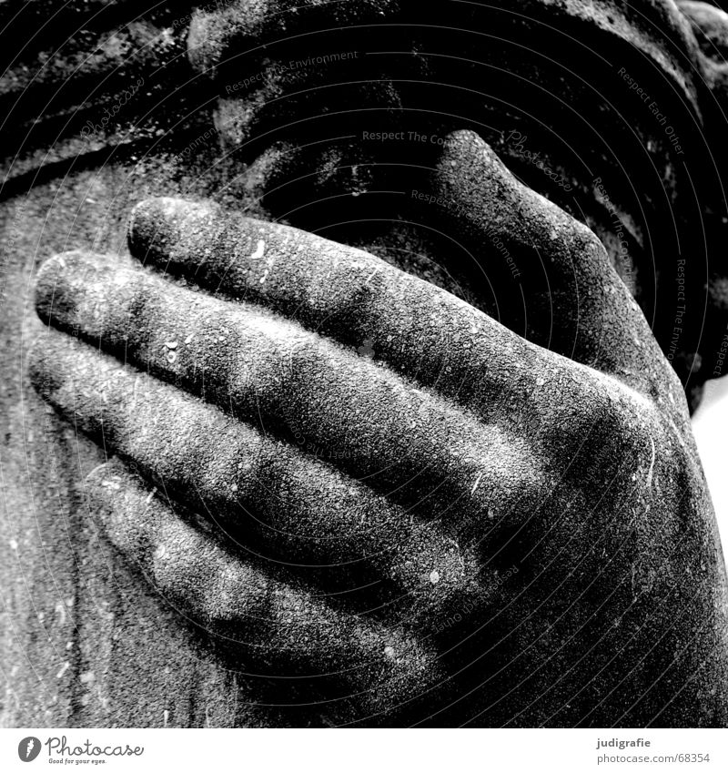 hand Hand Fingers Sandstone Lime Sculpture Black White Protection Crack & Rip & Tear To hold on Black & white photo Stone Rough