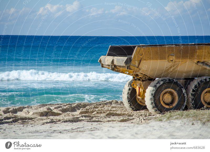 Kipper Sky Ocean Clouds Beach Warmth Coast Sand Horizon Power Large Construction site Planning Driving Logistics Decline Fear of the future