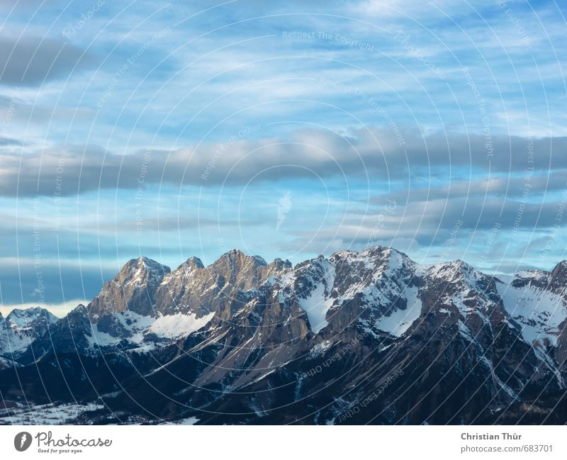 winter horizon Skis Environment Nature Sky Sky only Winter Beautiful weather Snow Rock Alps Mountain Snowcapped peak Glacier Relaxation Dream Infinity Blue