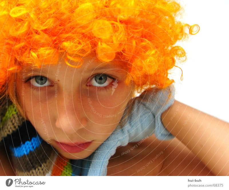 expressionless-the clown seven Wig Yellow Gloves Knitted Multicoloured Shoulder Eyelash Eyebrow Beautiful Sweet Desirable hair Hair and hairstyles Orange glove