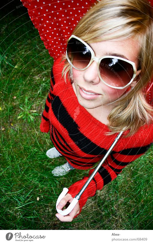 Punk, the housefly. Sweet Beautiful Cute Bird's-eye view Wide angle Striped Eyeglasses Large Umbrella Red Black Blonde Woman Sunglasses Summer Sweater Fisheye