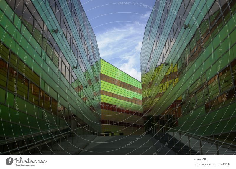 architecture almere Almere Facade Prismatic colors Building Vanishing point Perspective Modern Architecture