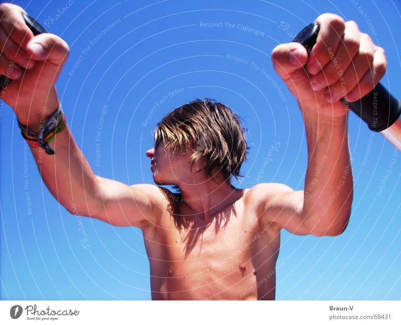 At the helm Man Rowing Upper body Physics Summer Hand Sports Paddle Body Warmth Arm Chest frequency nuke heavenly Blue