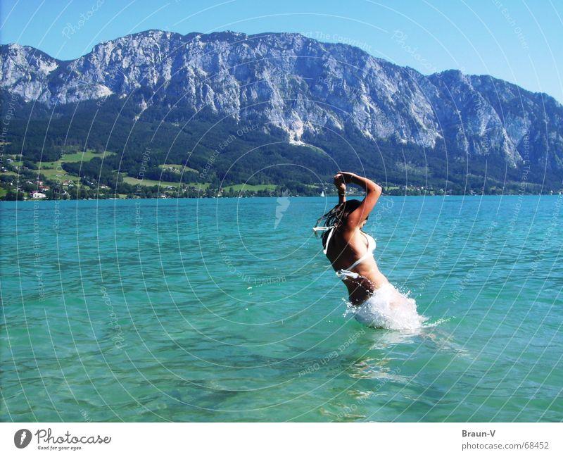 Water Sun Summer Jump Mountain Lake Warmth Physics