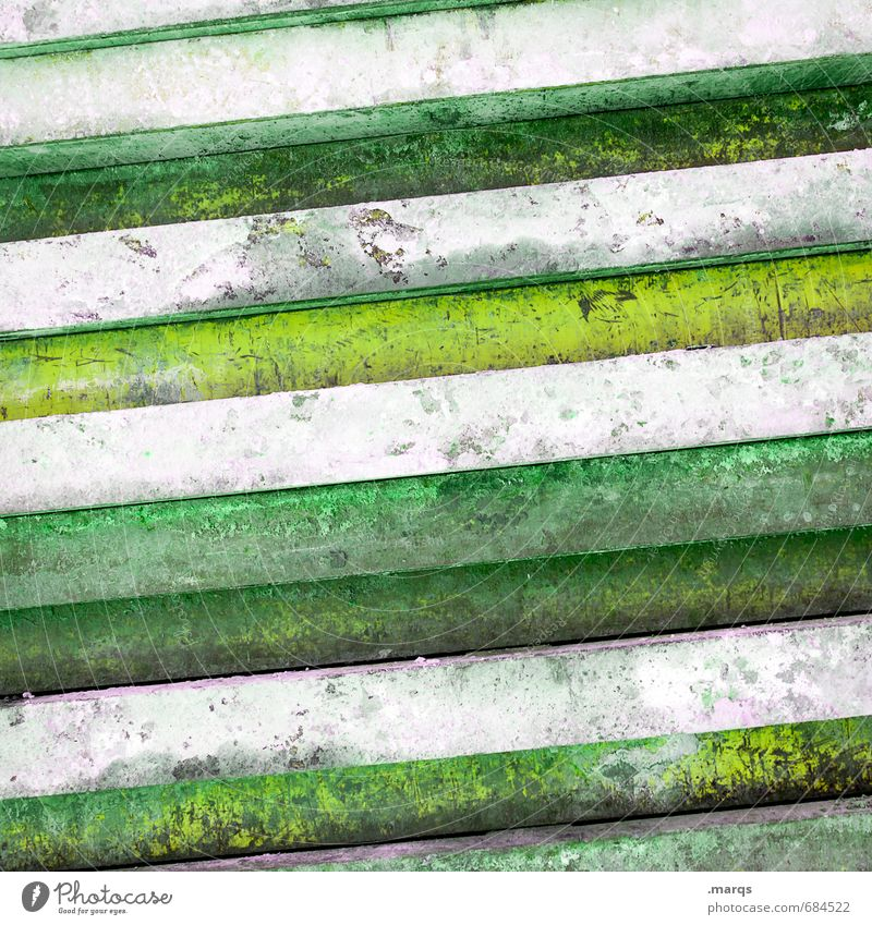 old green Lifestyle Elegant Style Design Wall (barrier) Wall (building) Metal Line Old Green White Colour Decline Background picture Striped Side by side