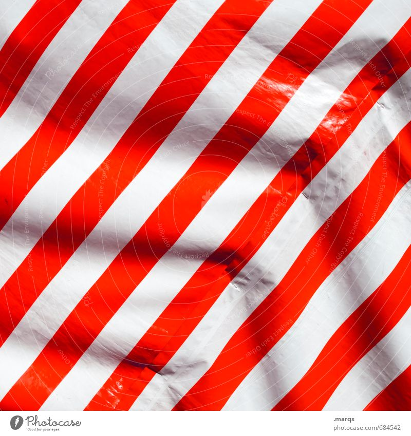 streak Elegant Style Design Plastic Line Stripe Simple Red White Folds Background picture Weather protection Wind Colour photo Exterior shot Close-up Pattern