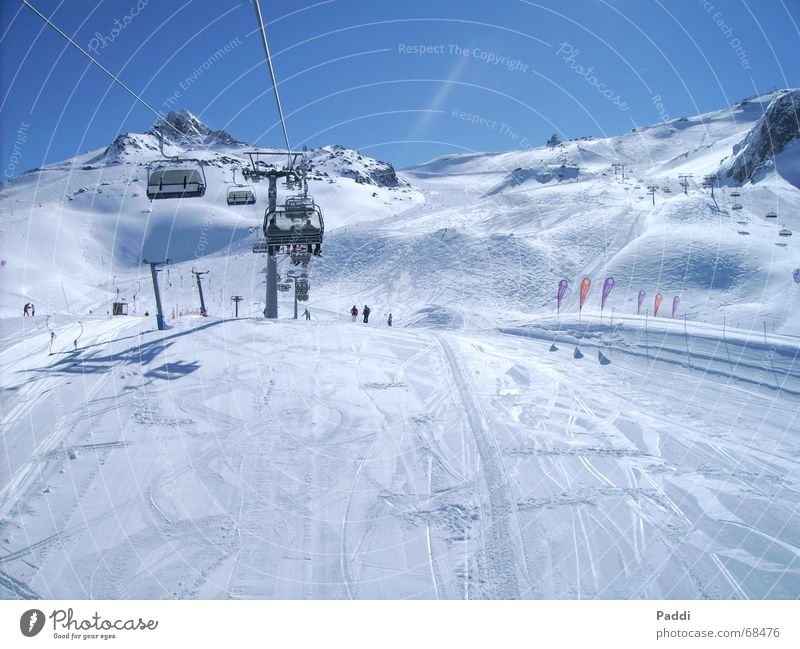 skiing holiday Skiing Vacation & Travel Winter December Cold Ski lift Ski run Ischgl Snow Ice Frost Sky Mountain Alps Ski resort Chair lift Exterior shot