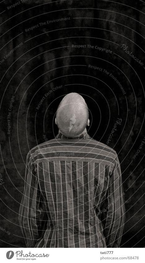 Hans looks in the air Back of the head Short haircut striped shirt Ear pawnshop Black & white photo Rear view
