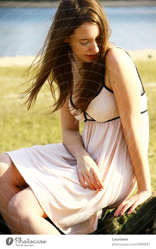 solitary Human being Feminine Young woman Youth (Young adults) Body 1 18 - 30 years Adults Environment Nature Landscape Water Spring Beautiful weather Wind