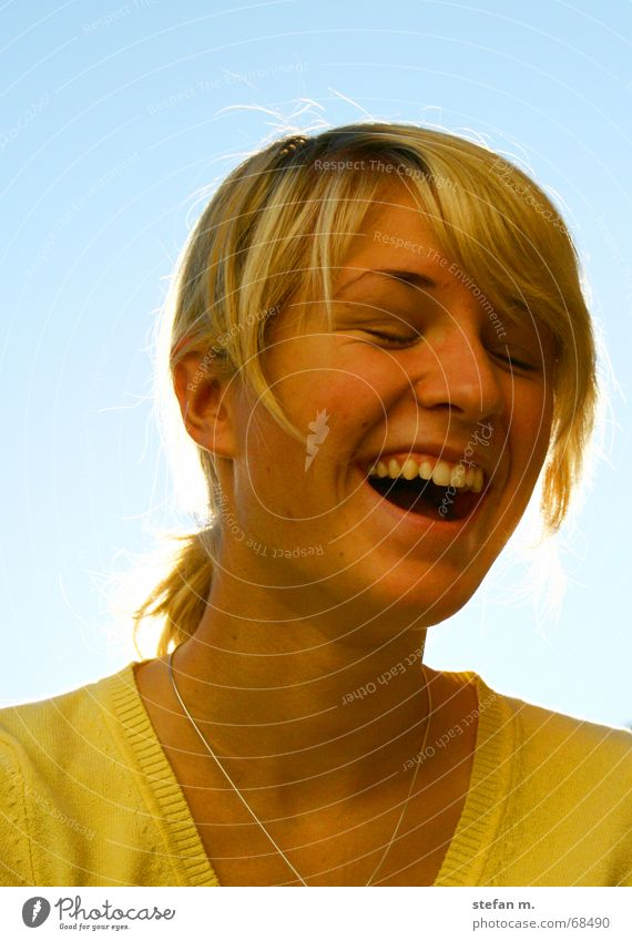When the sun shines Sun Blonde Woman Yellow Sweater Strand of hair Laughter Happy Joy fun Sky Blue Light (Natural Phenomenon) Hair and hairstyles Eyes Teeth