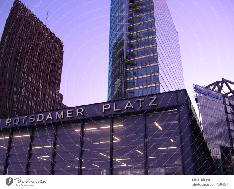Potsdamer Square Potsdamer Platz Twilight Building Berlin Germany Capital city Evening southern station entrance Architecture