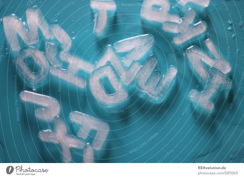 Which letter comes first? Water Wet Letters (alphabet) Greek alphabet Ice Melt Word Reading Cold Frozen Damp Blue Colour photo Interior shot