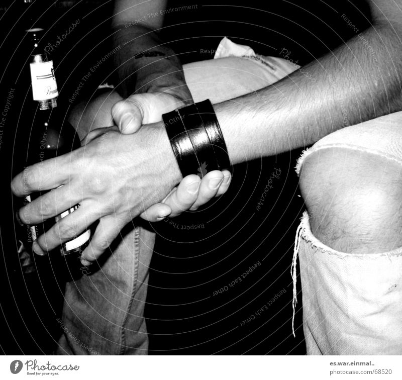 Man Hand White Black Relaxation Dark Hair and hairstyles Party Arm Sit Wait Fingers Broken Drinking Jeans Beer