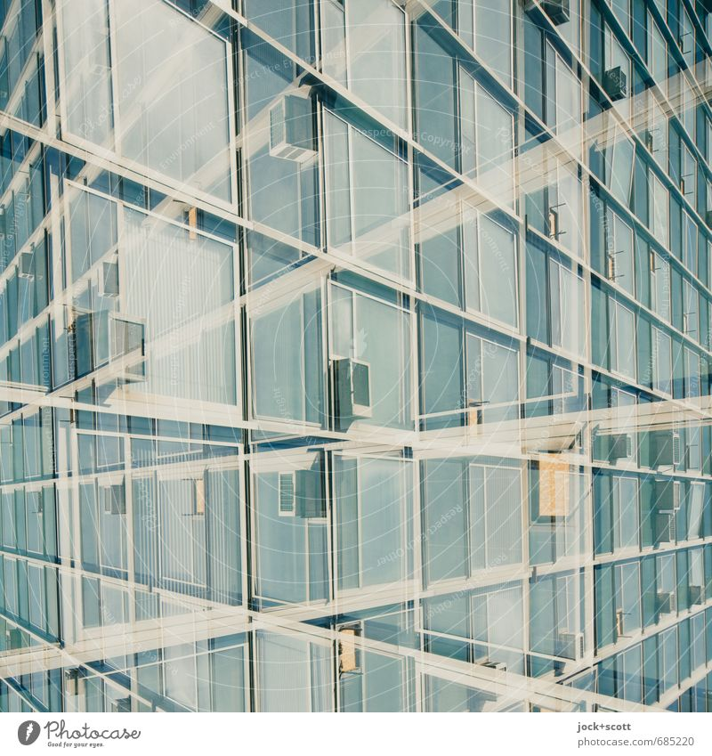 back and forth Architecture Facade Air conditioning Line Network Fantastic Retro Design Surrealism Irritation Double exposure Socialism Alternating