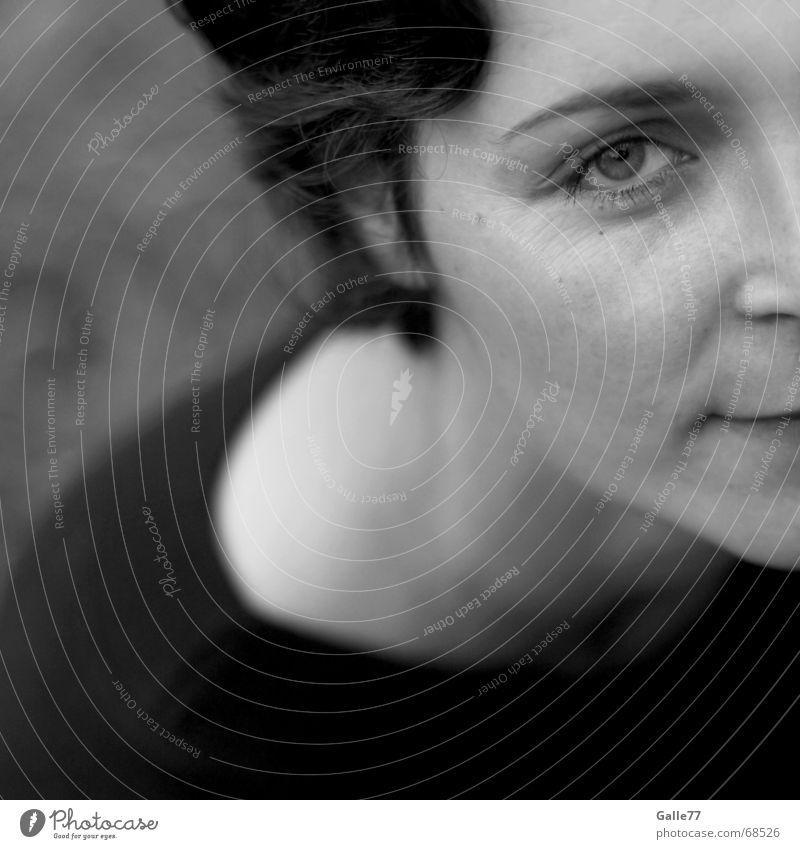 eye Portrait photograph Black White Dark Calm Eyes Partially visible Haircut Head Looking Bright