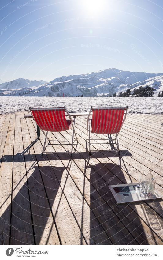 A place in the sun Vacation & Travel Far-off places Winter Snow Winter vacation Mountain Beautiful weather Alps Snowcapped peak Wood Relaxation Deckchair
