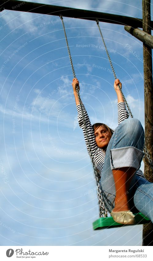 Woman Sky Joy Clouds Relaxation Thought Swing Playground Pastime