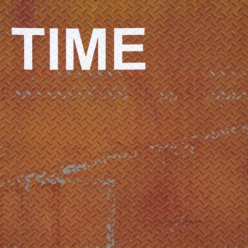 Time, time, writing on rusty checker plate with plenty of text space Rust Tin Steel plate Screen print Metal Characters Esthetic Exceptional Brown White Patient