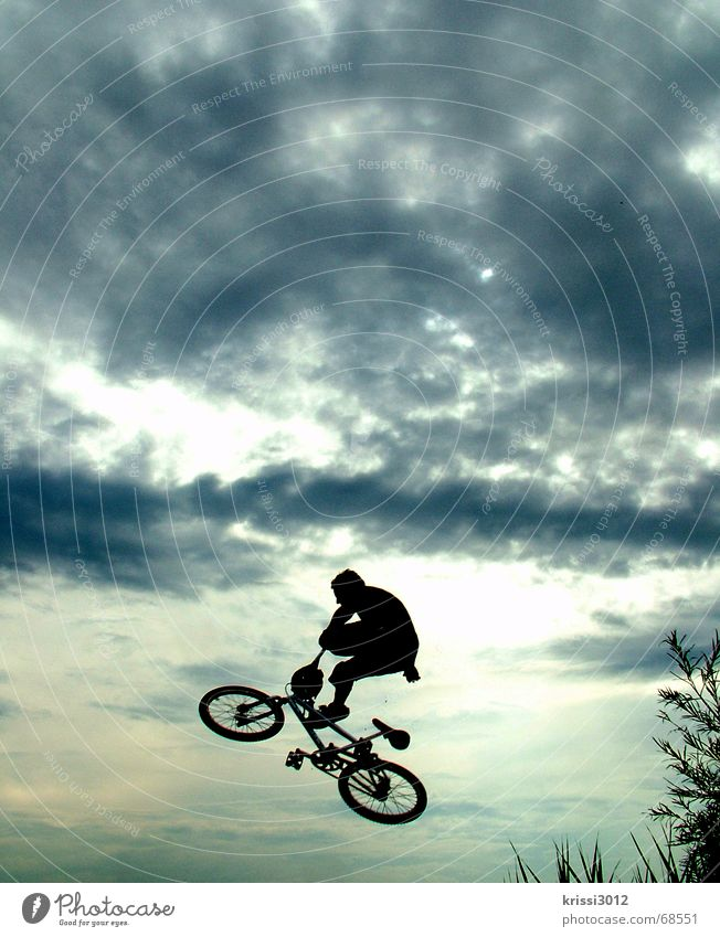 Jump into heaven Pedal Air Sports Sudden fall To fall Style Hover Bicycle Sunset Clouds Action Joy Freedom Playing Funsport BMX bike independence Aviation