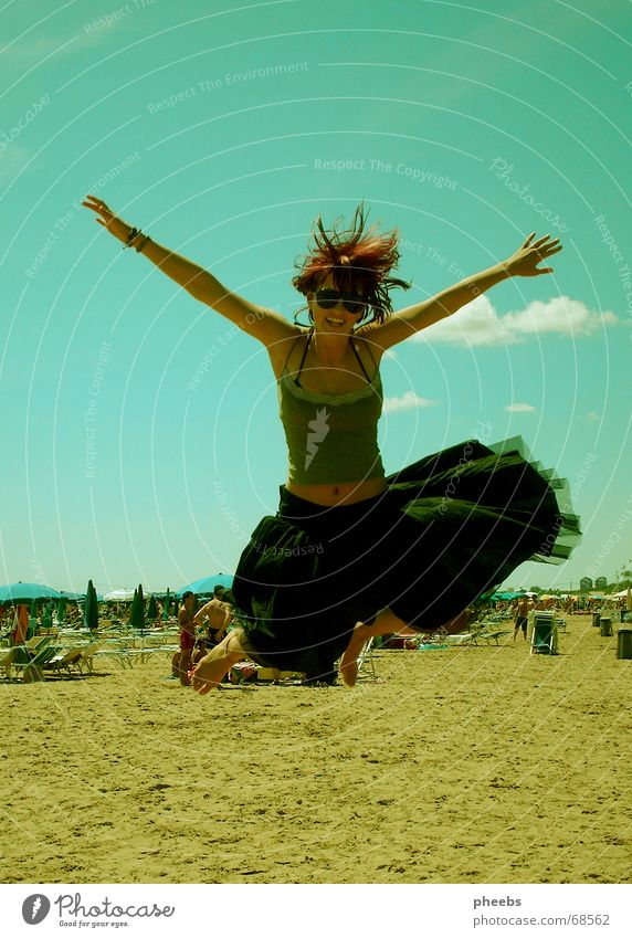 Woman Hand Sky Ocean Joy Beach Vacation & Travel Black Clouds Jump Movement Freedom Laughter Sand Lie Italy