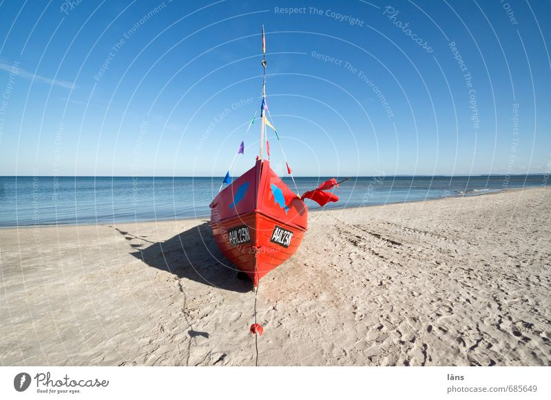 Red boat on the beach Beach Ocean Fishing boat Fisherman Environment Nature Landscape Sand Sky Beautiful weather Coast Baltic Sea Lie Blue Brown Beginning