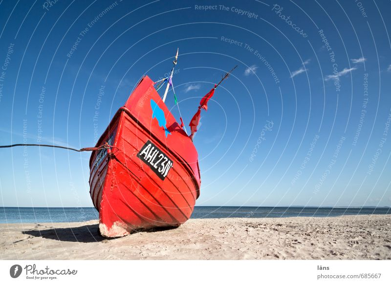 Red boat on the beach Beach Baltic Sea Deserted Ocean Usedom Vacation & Travel Tourism Sand Summer vacation Maritime Coast Beautiful weather