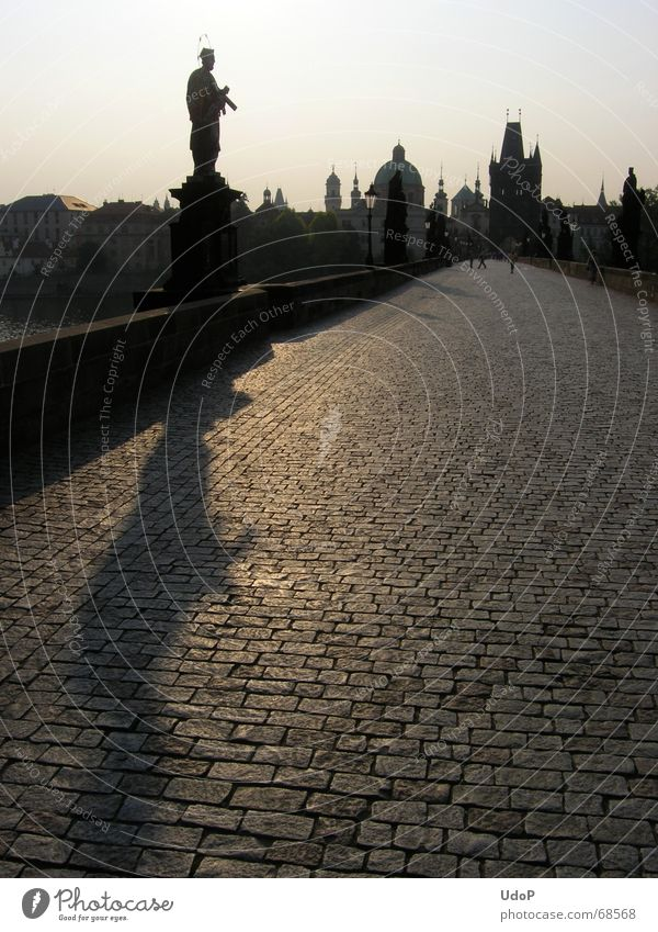 Lonely Nepomuk Charles Bridge Prague Czech Republic Twilight Sunrise Monument Town Back-light Morning Tower Point Shadow Contrast Silhouette nepomuk Holy