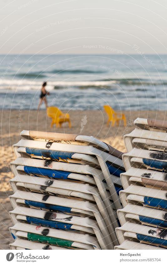 Human being Woman Vacation & Travel Blue City Ocean Beach Adults Feminine Coast Swimming & Bathing Brown 45 - 60 years Tourism Summer vacation Mediterranean sea