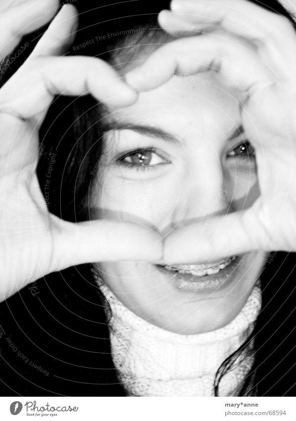 *** braces queen *** Emotions Hand Woman Heart Black & white photo Eyes Laughter Joy Love Looking