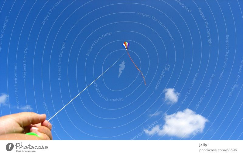 Human being Sky Hand Blue Summer Clouds Weather Tall Fingers To hold on String Kite Blue sky Sky blue