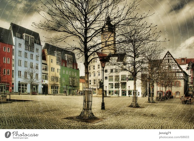 Empty swept. Places Marketplace House (Residential Structure) Town Tree Cobblestones Markets Jena Life Living or residing
