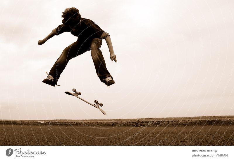 Child Joy Street Sports Boy (child) Jump Style Freedom Flying Action Skateboarding Dynamics Extreme Salto Trick Funsport
