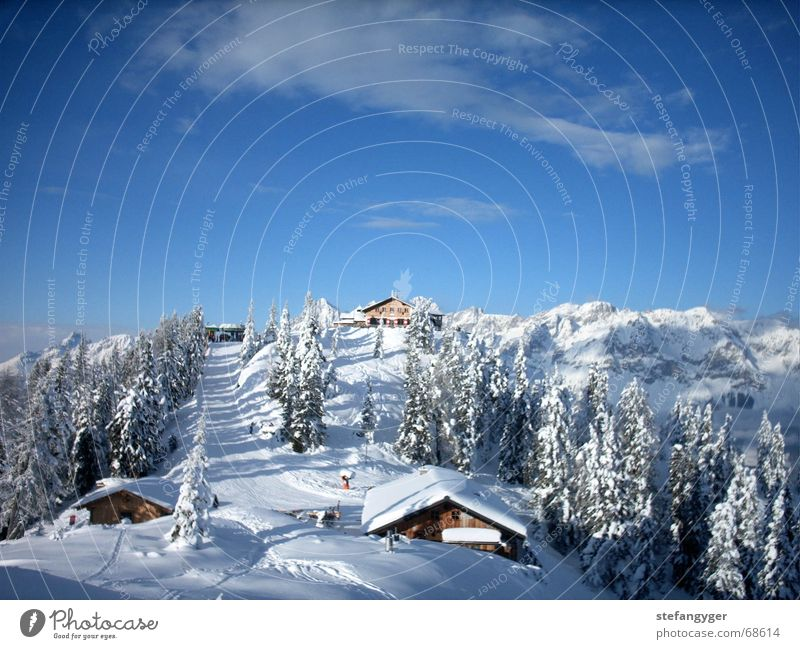 Sky Vacation & Travel Clouds Winter Forest Mountain Snow Idyll Peak Alps Snowcapped peak Hut Ski resort Austria Snowscape Landscape