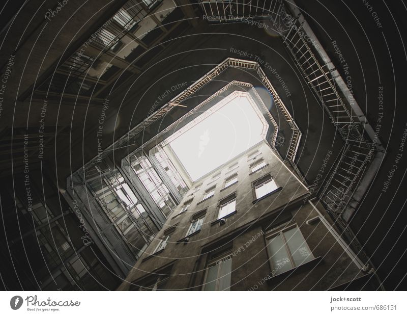 the trail of drops in the backyard Architecture Budapest Town house (City: Block of flats) Facade Window Backyard Retro Gloomy Gray Past Well of light Weathered