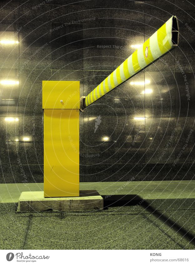long poor Control barrier Dark Yellow Parking Parking lot Parking garage Light Night Town reflections Perspective