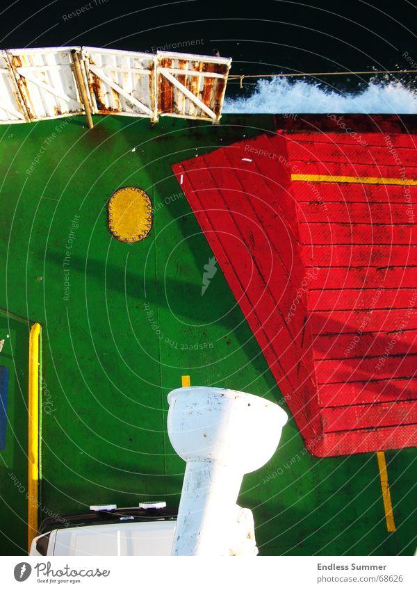 soul seller Ferry Watercraft Contrast Green Red Steel Iron