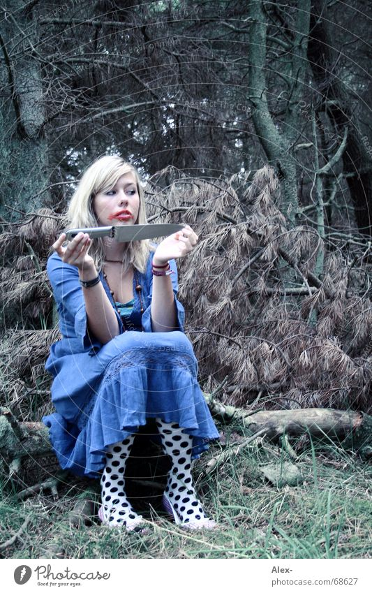 Woman Blue Beautiful Tree Loneliness Calm Forest Death Dark Blonde Fear Wait Sit Crazy Point Dress